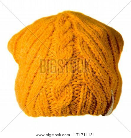 Women's Hat . Knitted Hat Isolated On White Background.yellow Hat