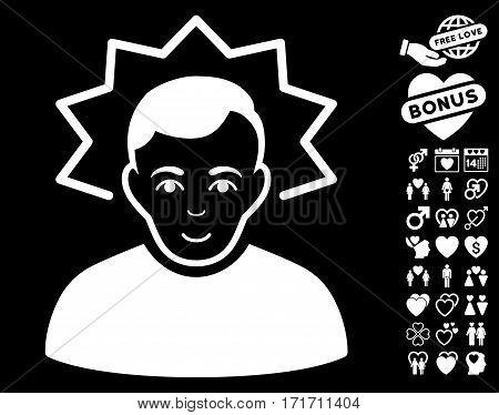Inventor icon with bonus valentine icon set. Vector illustration style is flat iconic white symbols on black background.