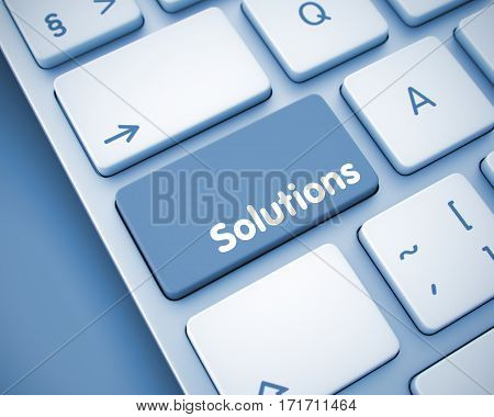 Business Concept with Modernized Enter Button on the Keyboard: Solutions. White Keyboard Keypad Showing the Inscription Solutions. Message on Keyboard Keypad. 3D.