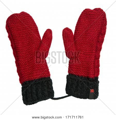 Mittens Isolated On White Background. Knitted Mittens. Mittens Top View.red Black Mittens