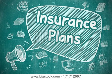 Speech Bubble with Inscription Insurance Plans Cartoon. Illustration on Blue Chalkboard. Advertising Concept.