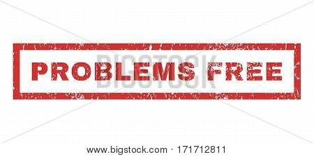 Problems Free text rubber seal stamp watermark. Tag inside rectangular shape with grunge design and scratched texture. Horizontal vector red ink emblem on a white background.