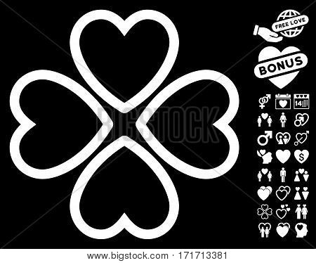 Love Hearts pictograph with bonus marriage pictograph collection. Vector illustration style is flat iconic white symbols on black background.