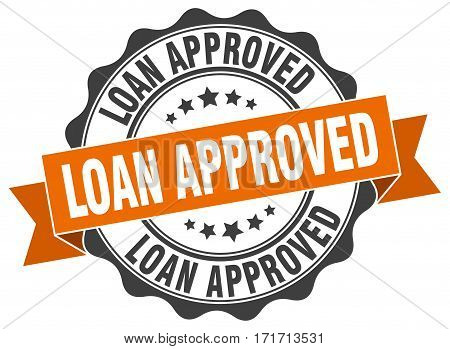 loan approved. stamp. sign. seal. round. retro. ribbon