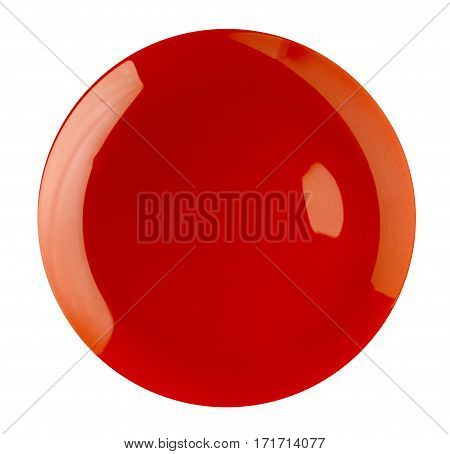 Plate Isolated On A White Background. Plate Top View .red Plate