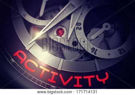 Fashion Watch with Activity on Face, Symbol of Time. Activity - Black and White Close-Up of Wrist Watch Mechanism. Work Concept with Lens Flare. 3D Rendering.