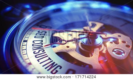 SEO Consulting - Search Engine Optimization Consulting. on Vintage Pocket Clock Face with Close View of Watch Mechanism. Time Concept. Vintage Effect. 3D Render.