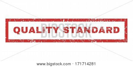 Quality Standard text rubber seal stamp watermark. Caption inside rectangular shape with grunge design and dirty texture. Horizontal vector red ink sticker on a white background.