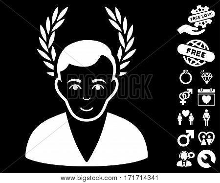 Man Glory icon with bonus amour pictures. Vector illustration style is flat iconic white symbols on black background.