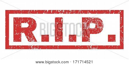 R.I.P. text rubber seal stamp watermark. Tag inside rectangular shape with grunge design and dirty texture. Horizontal vector red ink sign on a white background.