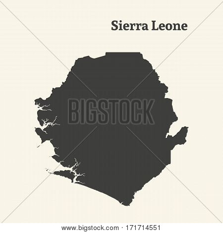 Outline map of Sierra Leone. Isolated vector illustration.