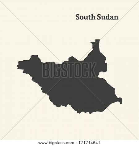 Outline map of South Sudan. Isolated vector illustration.