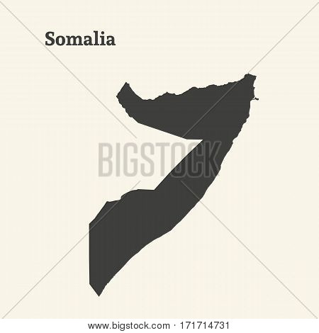 Outline map of Somalia. Isolated vector illustration.