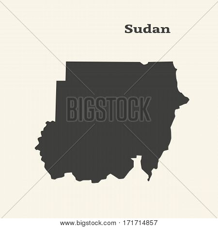 Outline map of Sudan. Isolated vector illustration.