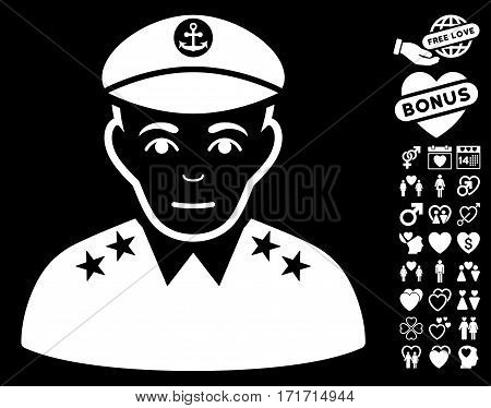 Military Captain pictograph with bonus decoration graphic icons. Vector illustration style is flat iconic white symbols on black background.