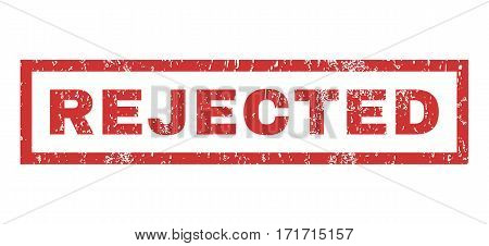 Rejected text rubber seal stamp watermark. Caption inside rectangular shape with grunge design and dust texture. Horizontal vector red ink sticker on a white background.