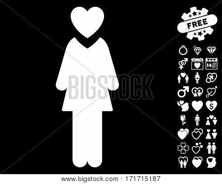 Mistress icon with bonus lovely design elements. Vector illustration style is flat iconic white symbols on black background.