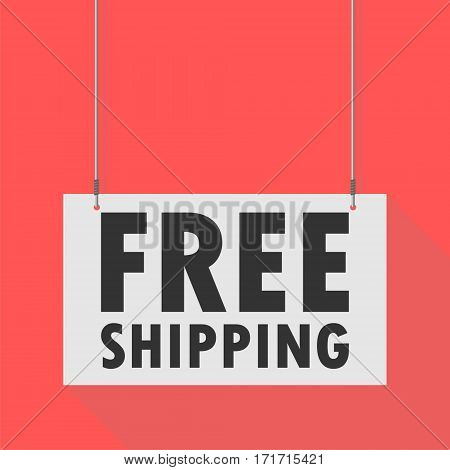 Hanging Sign free shipping on red background