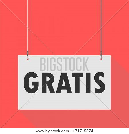 Simple Hanging Sign gratis  on red background