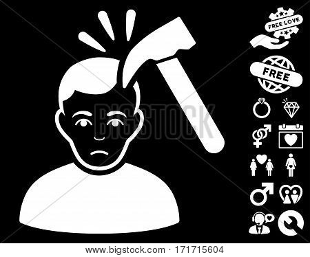 Murder With Hammer icon with bonus love design elements. Vector illustration style is flat iconic white symbols on black background.