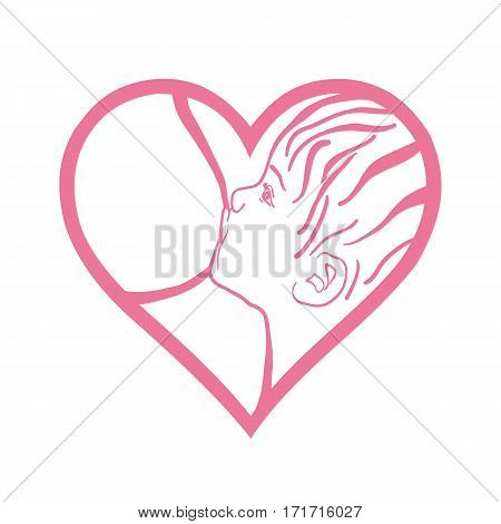 Symbol of mother breastfeeding baby woman feeding newborn baby with breast milk. poster