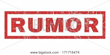 Rumor text rubber seal stamp watermark. Tag inside rectangular shape with grunge design and unclean texture. Horizontal vector red ink emblem on a white background.