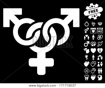 Polyandry icon with bonus passion symbols. Vector illustration style is flat iconic white symbols on black background.