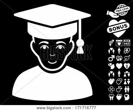 Professor icon with bonus marriage pictograms. Vector illustration style is flat iconic white symbols on black background.