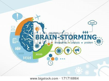 Brainstorming Related Words And Brain Concept.