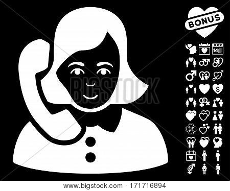 Receptionist pictograph with bonus valentine pictures. Vector illustration style is flat iconic white symbols on black background.
