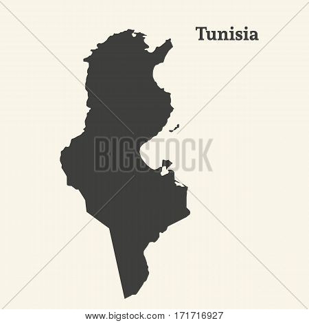 Outline map of Tunisia. Isolated vector illustration.