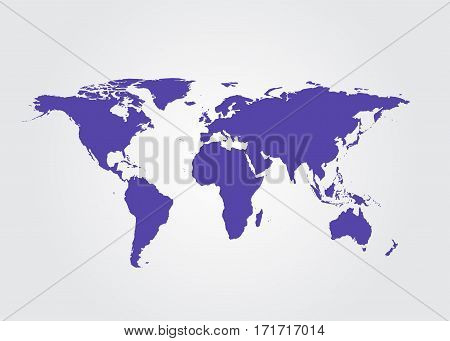 Outline map of world. Isolated vector illustration.
