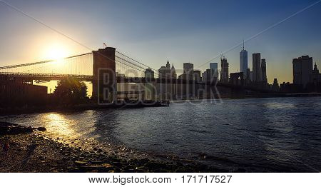Brooklyn Bridge in New York with Manhattan