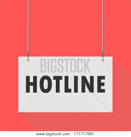Simple Hanging Sign hotline on red background