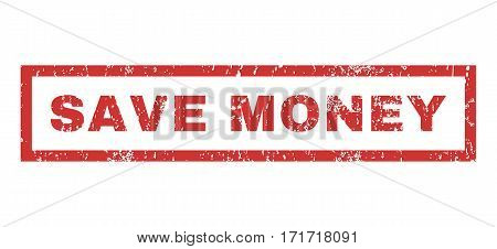 Save Money text rubber seal stamp watermark. Tag inside rectangular shape with grunge design and dirty texture. Horizontal vector red ink sign on a white background.