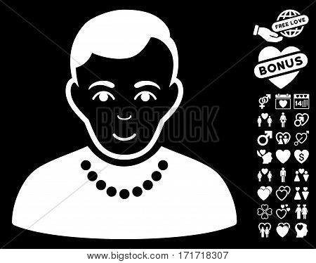Trendy Guy icon with bonus decorative symbols. Vector illustration style is flat iconic white symbols on black background.