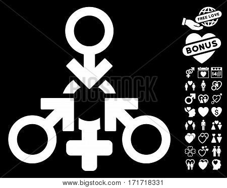 Triple Penetration Sex pictograph with bonus valentine pictograms. Vector illustration style is flat iconic white symbols on black background.