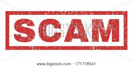 Scam text rubber seal stamp watermark. Caption inside rectangular shape with grunge design and dust texture. Horizontal vector red ink emblem on a white background.