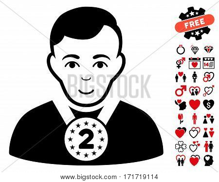 2nd Prizer Sportsman pictograph with bonus lovely images. Vector illustration style is flat iconic intensive red and black symbols on white background.