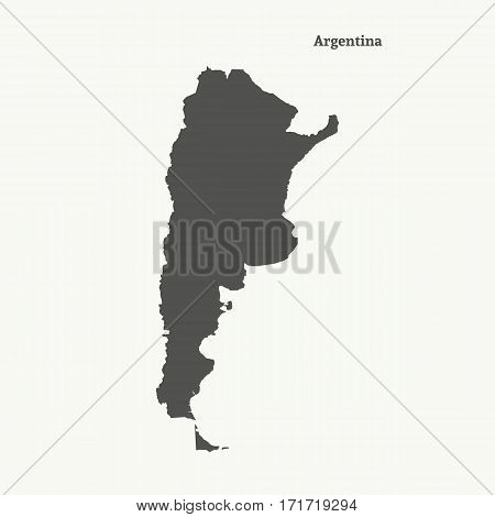 Outline map of Argentina. Isolated vector illustration.