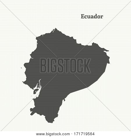Outline map of Ecuador. Isolated vector illustration.
