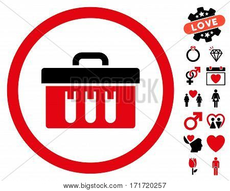 Analysis Box pictograph with bonus dating clip art. Vector illustration style is flat iconic intensive red and black symbols on white background.