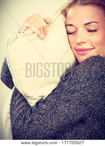 Happy Sleepy Woman Holding Cozy Pillow