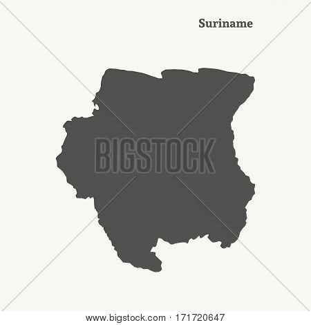 Outline map of Suriname. Isolated vector illustration.