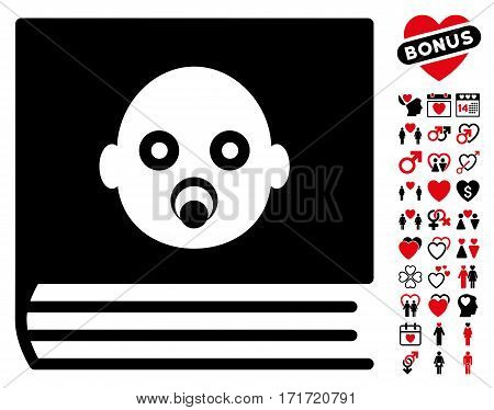 Baby Album icon with bonus decorative pictograms. Vector illustration style is flat iconic intensive red and black symbols on white background.