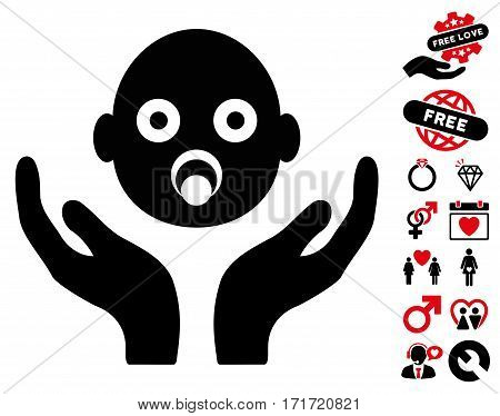 Baby Care Hands pictograph with bonus romantic graphic icons. Vector illustration style is flat iconic intensive red and black symbols on white background.