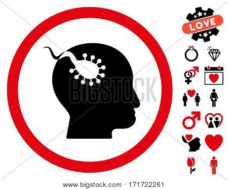 Brain Parasite pictograph with bonus valentine design elements. Vector illustration style is flat iconic intensive red and black symbols on white background.