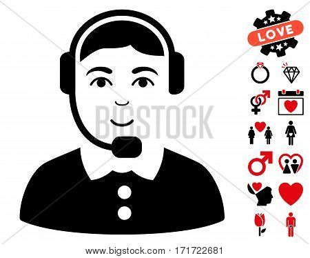 Call Center Operator icon with bonus romantic pictures. Vector illustration style is flat iconic intensive red and black symbols on white background.