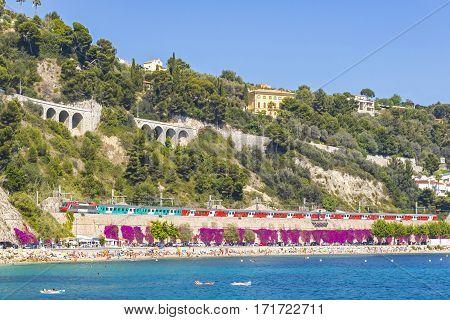 Summer Coastline In Villefranche-sur-mer, City Of Nice, France