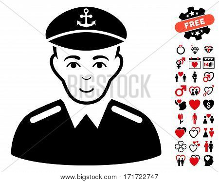 Captain pictograph with bonus dating pictures. Vector illustration style is flat iconic intensive red and black symbols on white background.